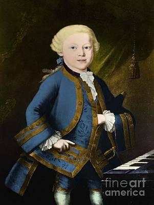 Young Wolfgang Amadeus Mozart, Austrian Art Print by Omikron