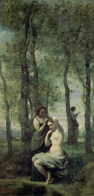 Fixing Painting - Young Woman At Her Toilet by Jean Baptiste Camille Corot