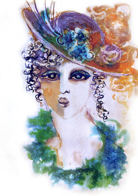 Painting - Young Woman Face With Curls In Blue Green Dress Purple Hat With Flower  by Rachel Hershkovitz