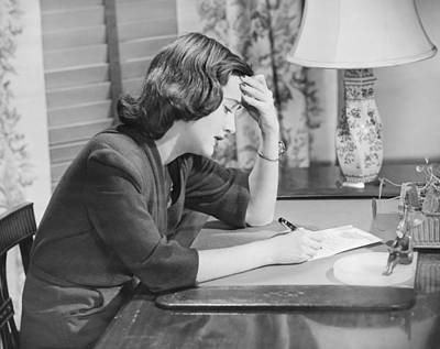 Young Woman Writing Letter At Desk, (b&w) Art Print by George Marks