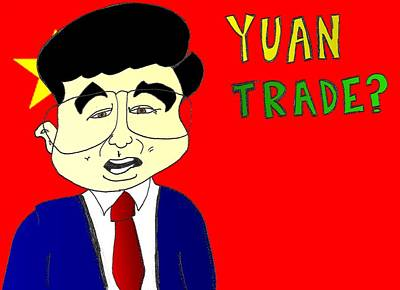 Financial Mixed Media - Yuan Trade Cariature by OptionsClick BlogArt