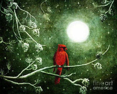 Snow Digital Art - Yuletide Cardinal by Laura Iverson