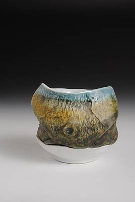 Yunomi Sculpture - Yunomi Tea Bowl  Hand Painted Brook Trout Tea Bowl  by Mark Chuck