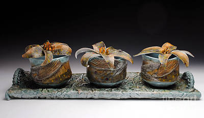 Yunomi Sculpture - Yunomis With Trout Lilies  by Mark Chuck