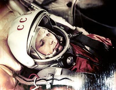 Yuri Gagarin Photograph - Yuri Gagarin Onboard Vostok 1 by Ria Novosti