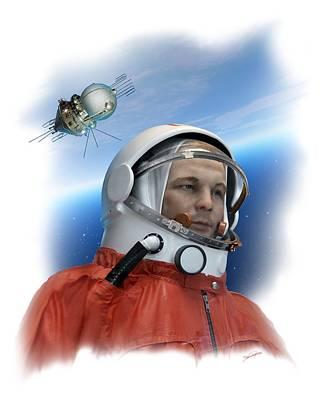 Yuri Gagarin Photograph - Yuri Gagarin, Soviet Cosmonaut, Artwork by Detlev Van Ravenswaay