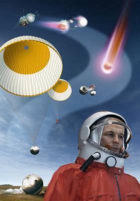 Yuri Gagarin's Landing, Artwork Art Print by Detlev Van Ravenswaay