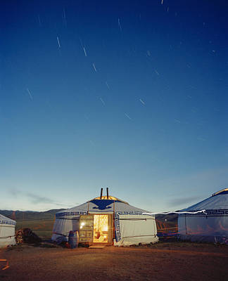 Yurts Photograph - Yurt Under A Starry Sky In Mongolia by Andrew Rowat