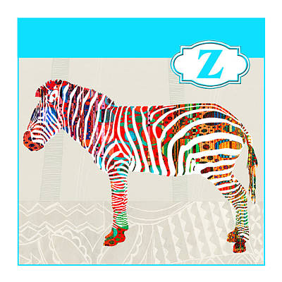 Education Painting - Z Is For Zebra by Elaine Plesser