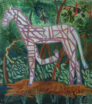 Painting - Z Is For Zebra In The Zoo Detail From Childhood Quilt Painting by Dawn Senior-Trask