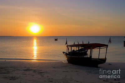 Dhow Photograph - Zanzibar Boat At Sunset by Darcy Michaelchuk
