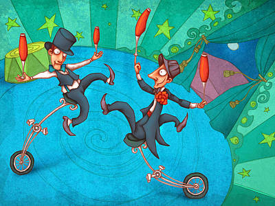 Circus Painting - Zanzzini Brothers by Autogiro Illustration