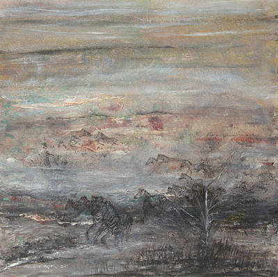 South Africa Zebra Painting - Zebra Flight by Melanie Meyer