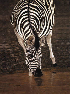 Art Print featuring the painting Zebra by Karen Zuk Rosenblatt