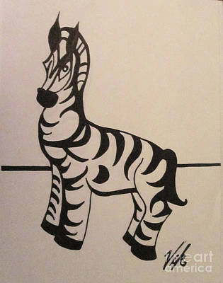 Drawing - Zebra by Lyn Vic