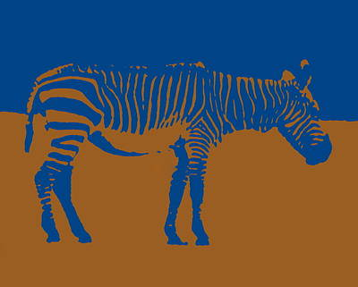 Photograph - Zebra Silhouette Brown Blue by Ramona Johnston