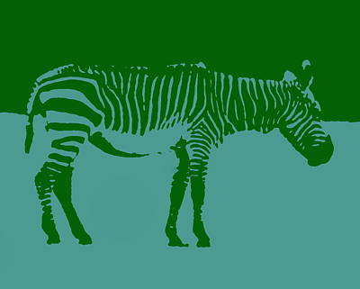 Photograph - Zebra Silhouette Green Blue by Ramona Johnston