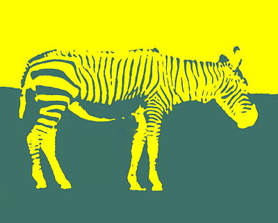 Photograph - Zebra Silhouette Yellow Aqua by Ramona Johnston