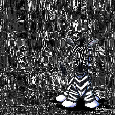 Kiniart Digital Art - Zebrabstract by Kim Niles