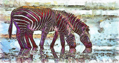 Fauna Painting - Zebras by George Rossidis