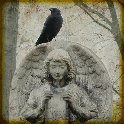 Zen Crow On Stone Angel Art Print