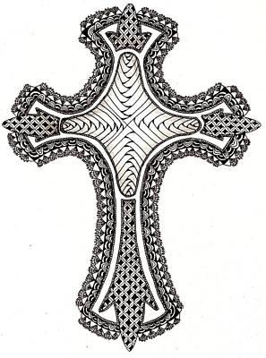 Zentangle Cross Print by Michelle Kidwell