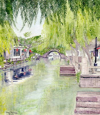 Painting - Zhou Zhuang Watertown Suchou China 2006 by Melly Terpening