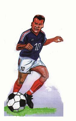 Zinedine Zidane 01 Art Print by Emmanuel Baliyanga