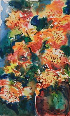 Phong Trinh Painting - Zinnia  Sonata Vi by Phong Trinh