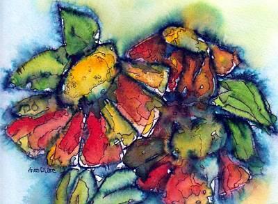Zinnia Painting - Zinnia Splash by Anne Duke