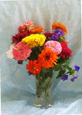 Digital Art - Zinnias And Waterford by Denise Dempsey Kane