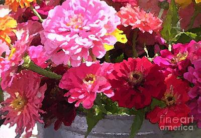 Digital Art - Zinnias by Denise Dempsey Kane