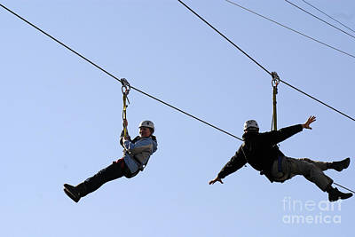 Photograph - Ziplining Duo Vancouver Canada by John  Mitchell