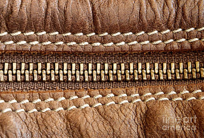 Zipper Photograph - Zipper And Leather Detail by Blink Images