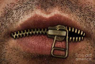 Secrets. Faces Photograph - Zipper On Mouth by Blink Images