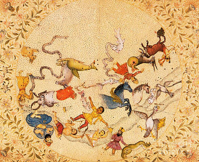 Zodiac Signs From Indian Manuscript Art Print by Science Source