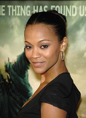 Hair Bun Photograph - Zoe Saldana At Arrivals For L.a by Everett