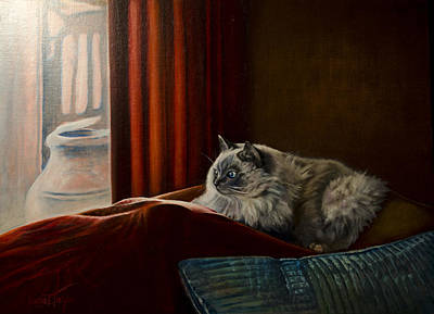 Painting - Zoe Watching The Birds by Laurie Tietjen