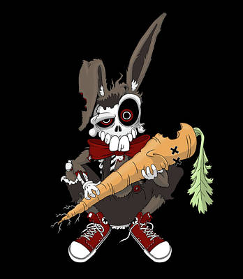 Zombie Bunny Art Print by Adam Spencer