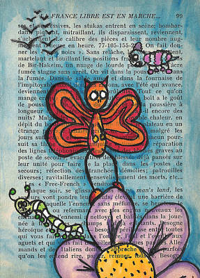 Figures Mixed Media - Zombie Butterfly by Jera Sky