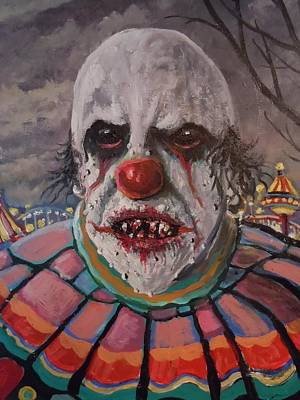 Evil Clown Painting - Zombie Clown by James Guentner