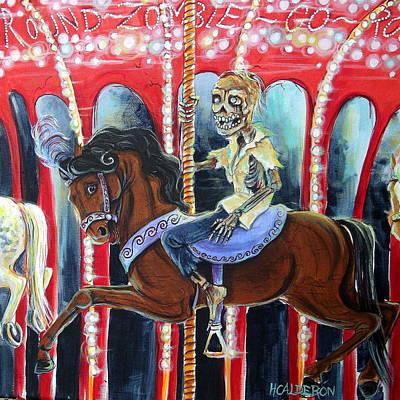 Amusement Ride Painting - Zombie Go Round by Heather Calderon