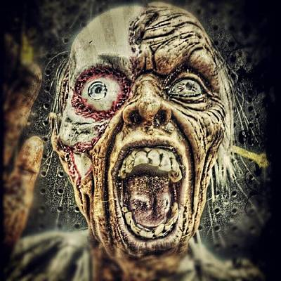 Horror Wall Art - Photograph - #zombie In #hdr! Halloween Is Near Are by Travis Albert