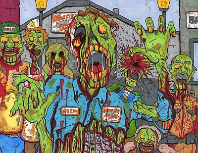 Drawing - Zombie Main Street by Anthony Snyder