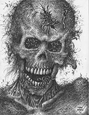 Drawing - Zombie Portrait Number 4 by Dan Moran