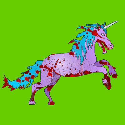 Zombie Unicorn Art Print by Jera Sky