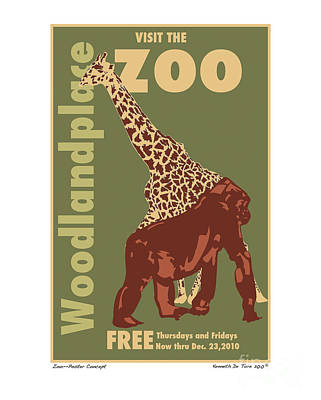 Gorilla Mixed Media - Zoo Poster by Kenneth De Tore