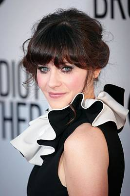 Zooey Deschanel  Wearing A Moschino Print by Everett