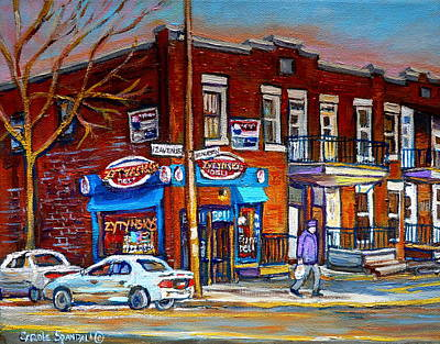 Montreal Storefronts Painting - Zytynsky's Deli Montreal by Carole Spandau