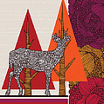 A Deer In Woodland Art Print